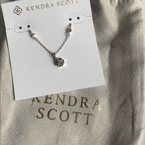 Nola Silver short pendant necklace platinum drusy